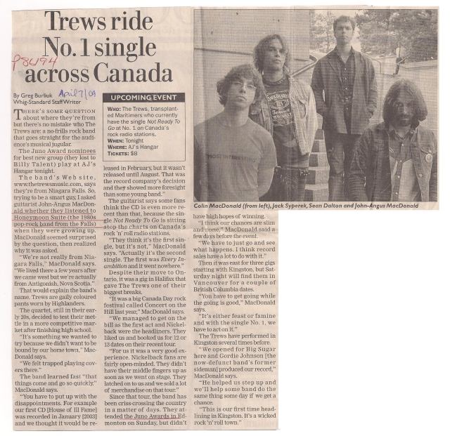 Trews ride #1 single across Canada, Kingston Whig Standard, Apr. 7/04