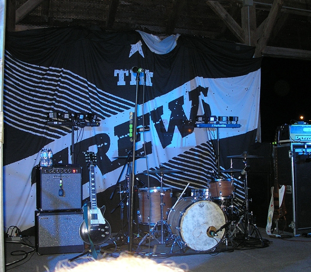 The Trews banner behind the drums in Lindsay.
