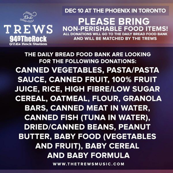 Items needed by the Daily Bread Food Bank