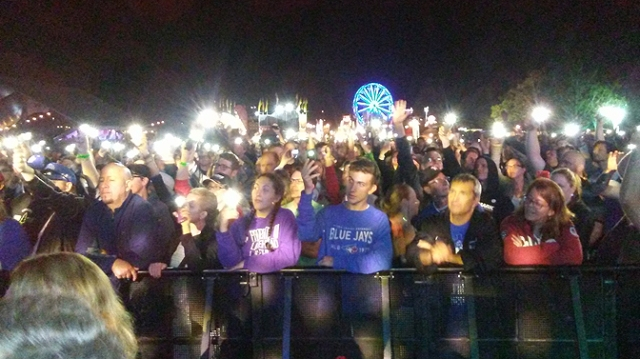 Lighters and phones in the air for Highway Of Heroes